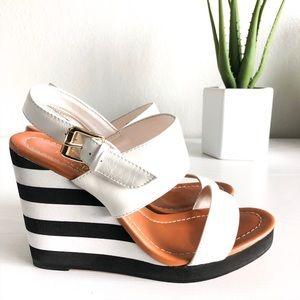 Kate Spade Black & White Platform Wedge